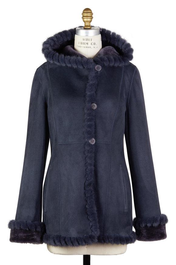 Viktoria Stass Winter Mist Shearling & Mink Fur Hooded Coat