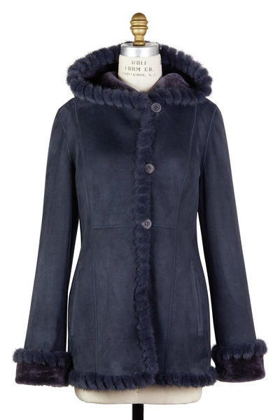 Viktoria Stass - Winter Mist Shearling & Mink Fur Hooded Coat