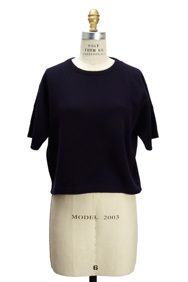 Navy Blue Cashmere Pullover