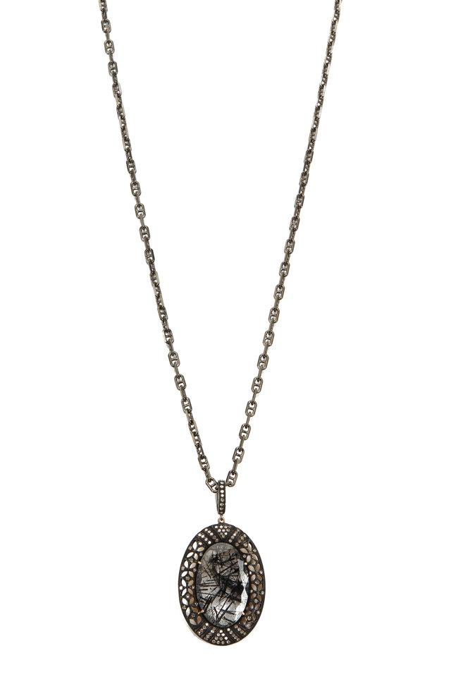 14K Gold & Rhodium Silver Quartz Pendant Necklace