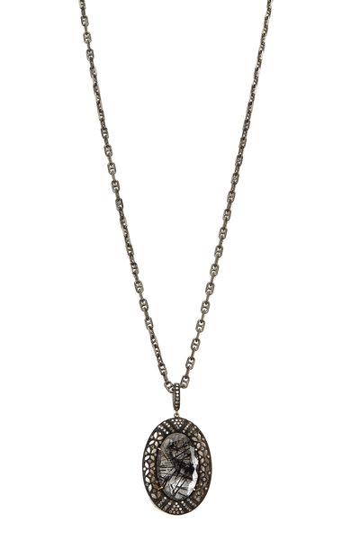 Loriann - 14K Gold & Rhodium Silver Quartz Pendant Necklace