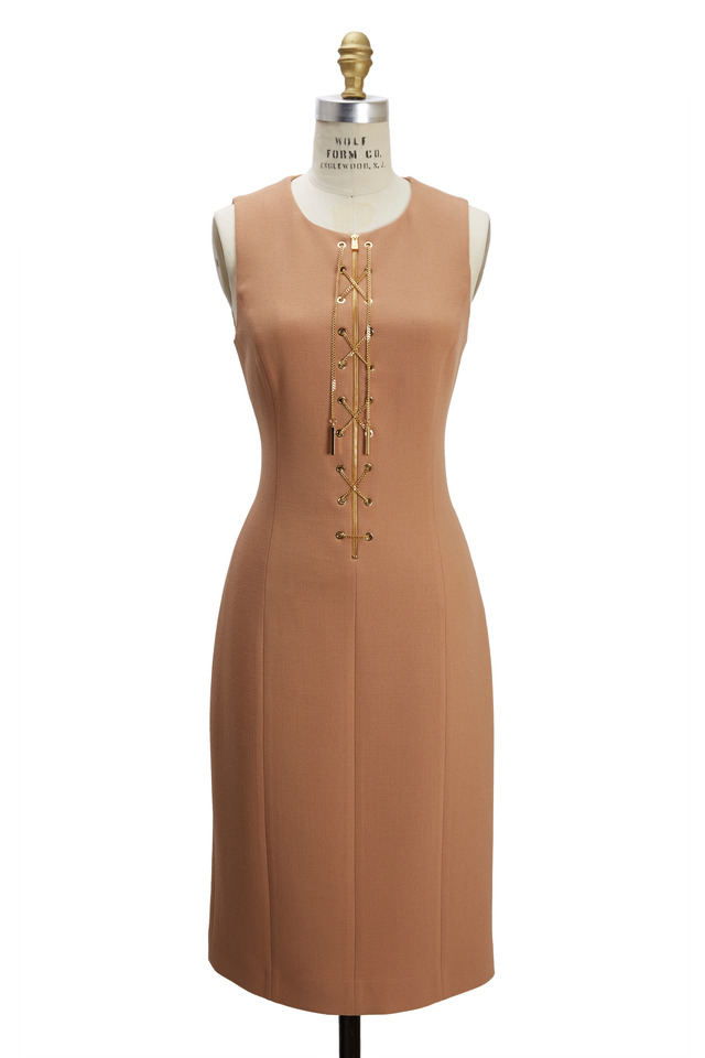 Tan Sleeveless Bouclé Crepe Sheath Dress