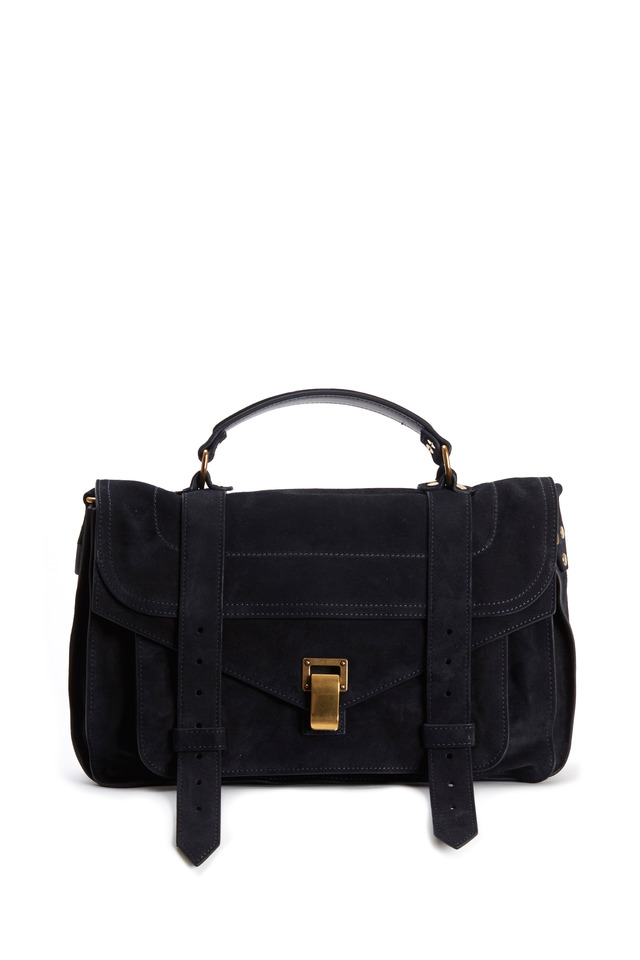 PS1 Navy Blue Suede Medium Satchel