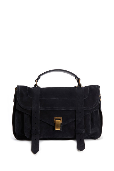 Proenza Schouler - PS1 Navy Blue Suede Medium Satchel