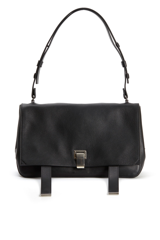 Black Leather Double Sided Courier Handbag