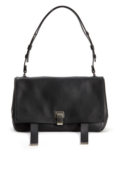 Proenza Schouler - Black Leather Double Sided Courier Handbag