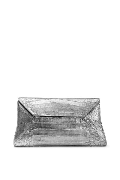 Nancy Gonzalez - Gumetal Crocodile Clutch