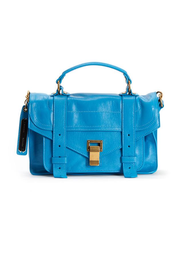 Blue Leather Flap Straps Handbag