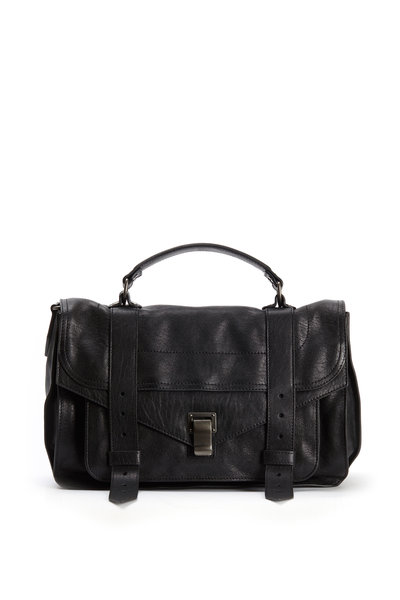 Proenza Schouler - Black Leather Medium Flap Strap Bag