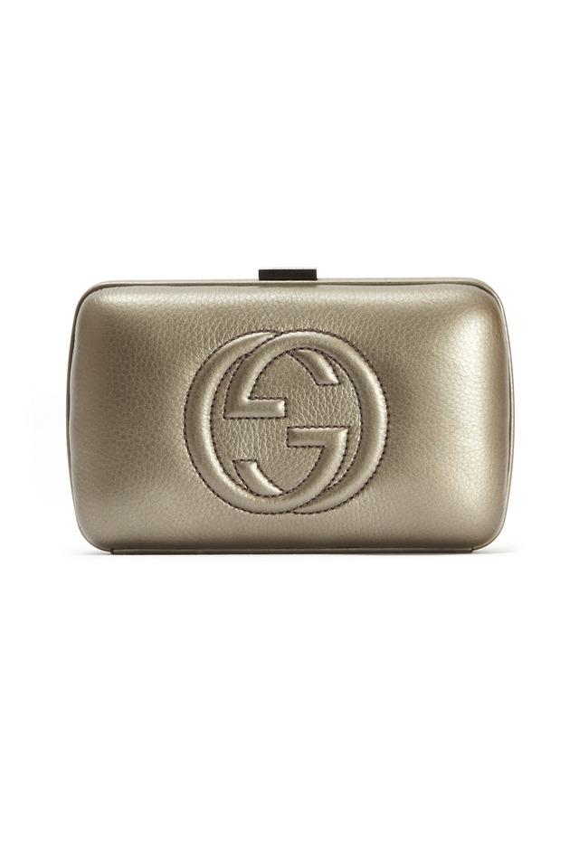 Gunmetal Hard Embossed GG Clutch