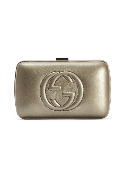 Gucci - Gunmetal Hard Embossed GG Clutch