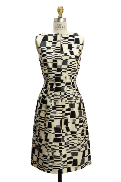 Lela Rose - Black & Ivory Jacquard Sheath