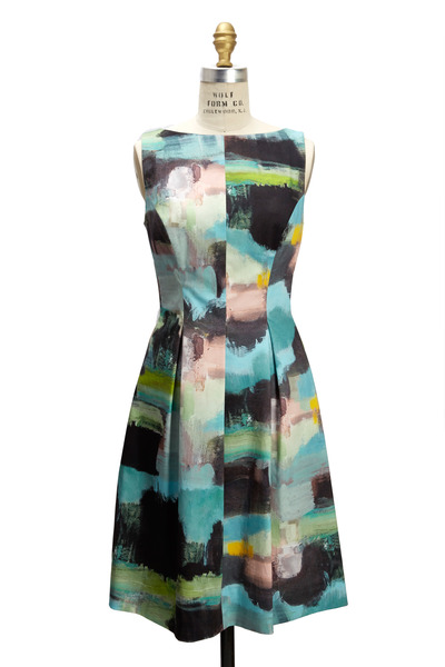 Lela Rose - Multi Toned Boat-Neck Tucked Waist Dress