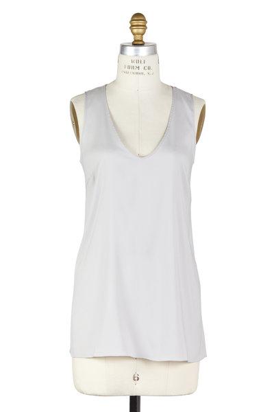 Brunello Cucinelli - Pearl Stretch Silk Scoop Neck Top