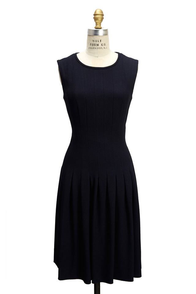 Navy Blue Full Skirt Sleeveless Dress