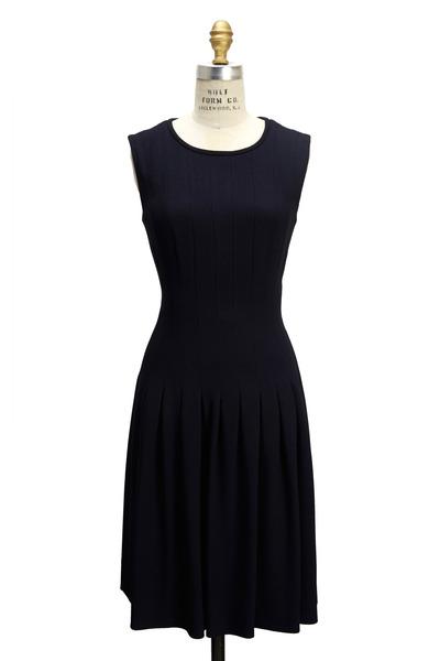 Escada - Navy Blue Full Skirt Sleeveless Dress
