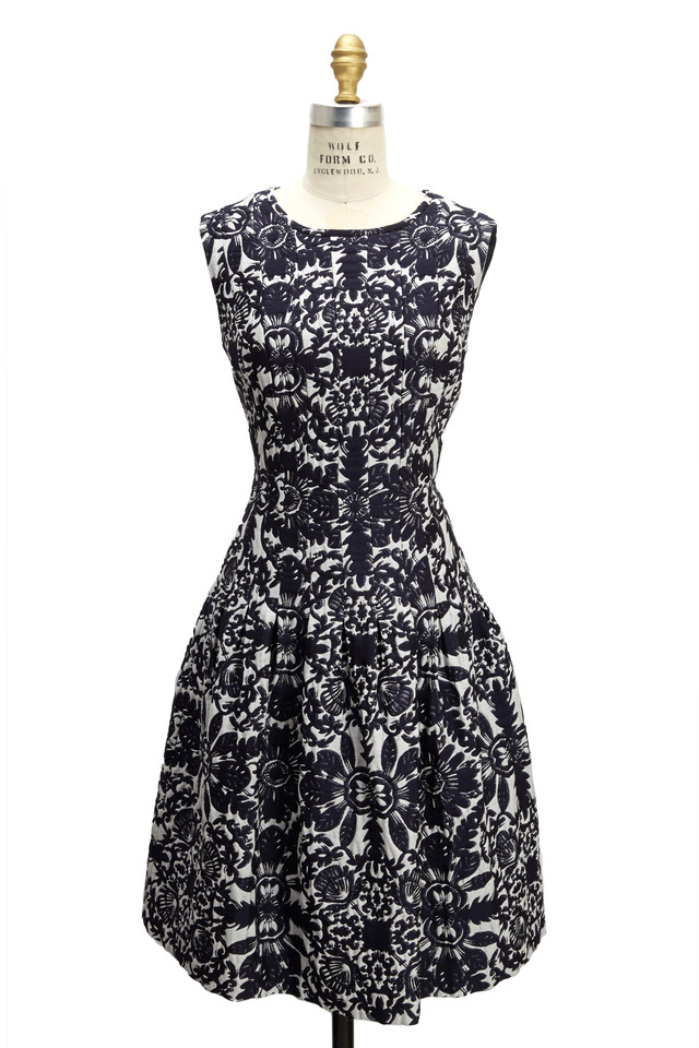 Navy Blue And White Jaquard Sleeveless Dress