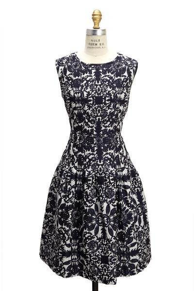 Escada - Navy Blue And White Jaquard Sleeveless Dress