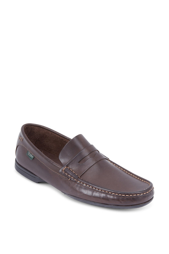 Paraboot Bassens Dark Brown Leather Penny Loafer