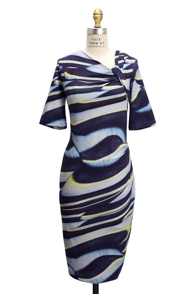 Cream & Navy Jersey Dress
