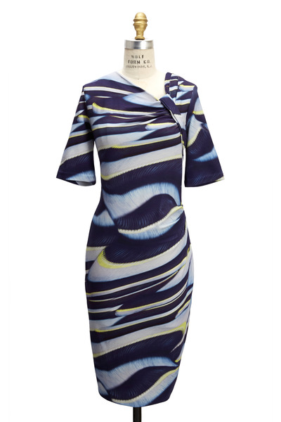 Escada - Cream & Navy Jersey Dress