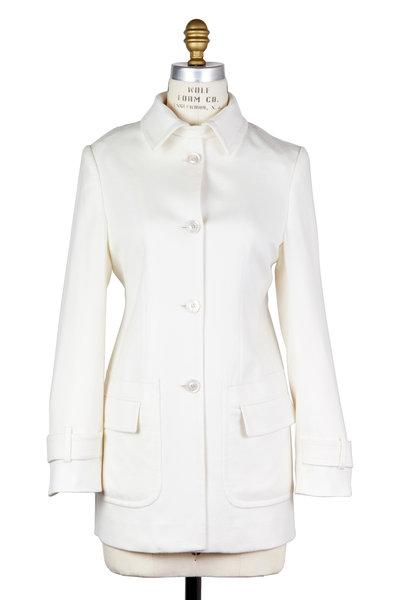 Kiton - White Cashmere Martingale Jacket