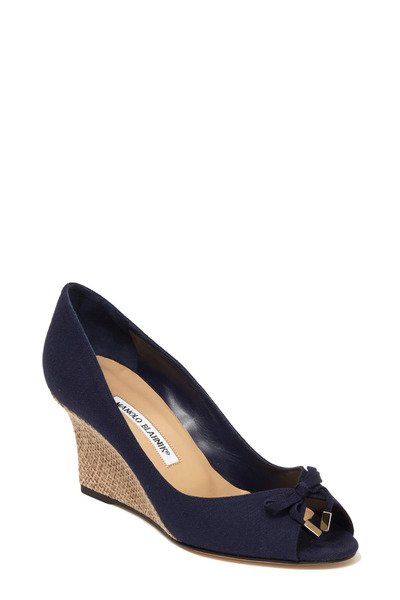 Manolo Blahnik - Mettiloni Navy Blue Linen Wicker Wedge, 70mm