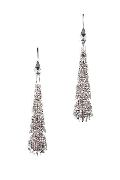 Eddie Borgo - Silver Plate Crystal Plume Dangle Earrings