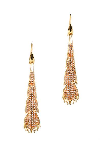 Eddie Borgo - Gold Plate Crystal Plume Dangle Earrings