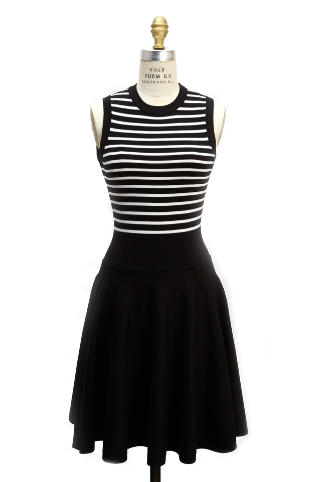 Black White Striped Flare Merino Wool Dress