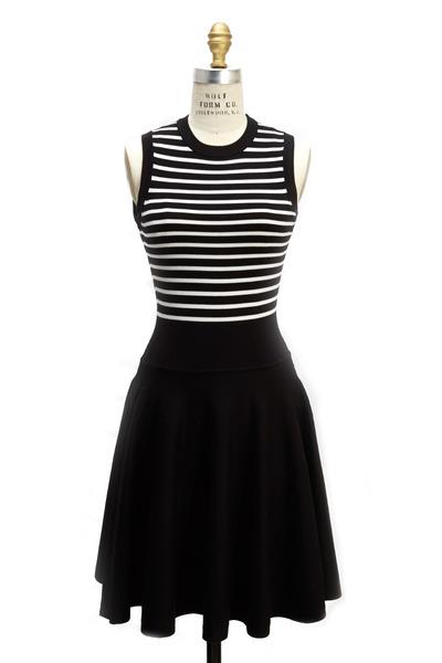 Michael Kors Collection - Black White Striped Flare Merino Wool Dress