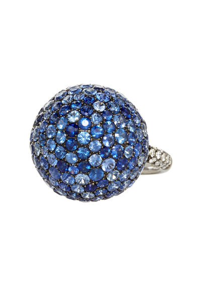 Nam Cho - 18K White Gold Blue Sapphire & Diamond Ball Ring
