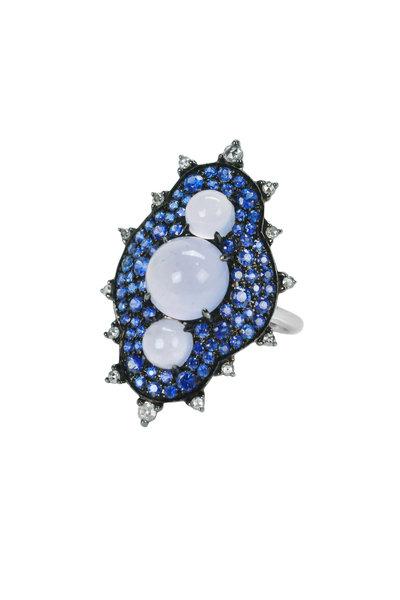 Nam Cho - Gold Chalcedony Sapphire Diamond Snowman Ring