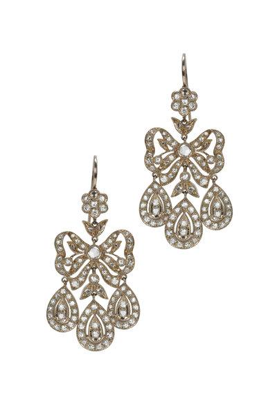 Nam Cho - White Gold & Palladium Diamond Dangle Earrings