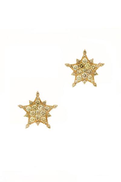 Nam Cho - Pink Gold Champagne Diamond Star Earrings