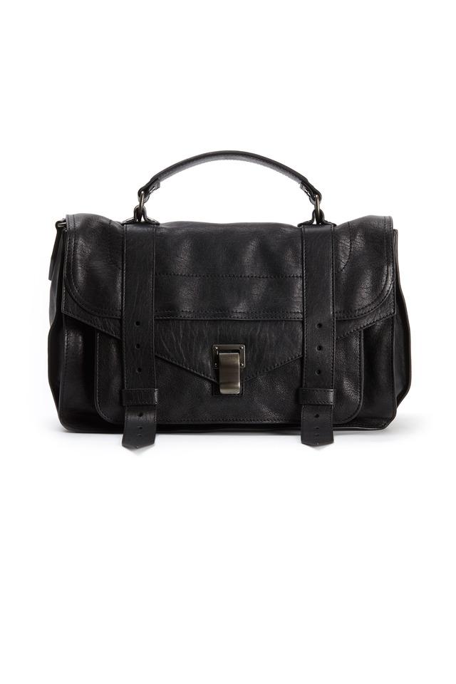 Black Leather Large Flap Strap Handbag