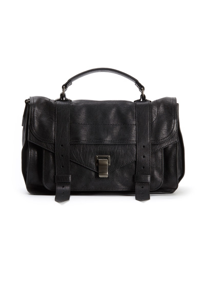 Proenza Schouler - Black Leather Large Flap Strap Handbag
