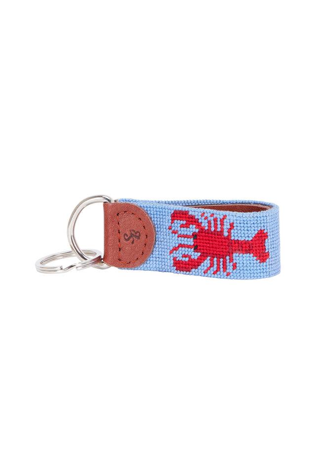 Light Blue Lobster Needlepoint Key Fob