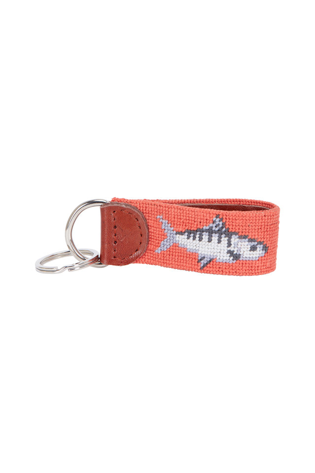 Melon Shark Needlepoint Key Fob