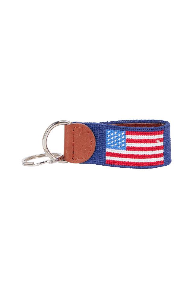 Navy Blue American Flag Needlepoint Key Fob