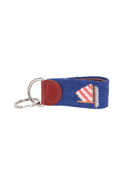 Smathers & Branson - Navy Blue Rainbow Fleet Needlepoint Key Fob