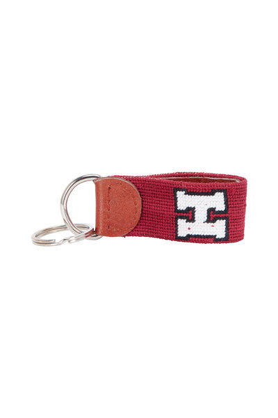 Smathers & Branson - Crimson Red Harvard Needlepoint Key Fob