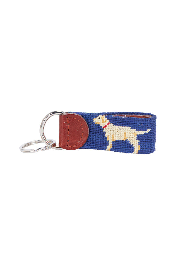 Smathers & Branson Navy Blue Yellow Lab Needlepoint Key Fob