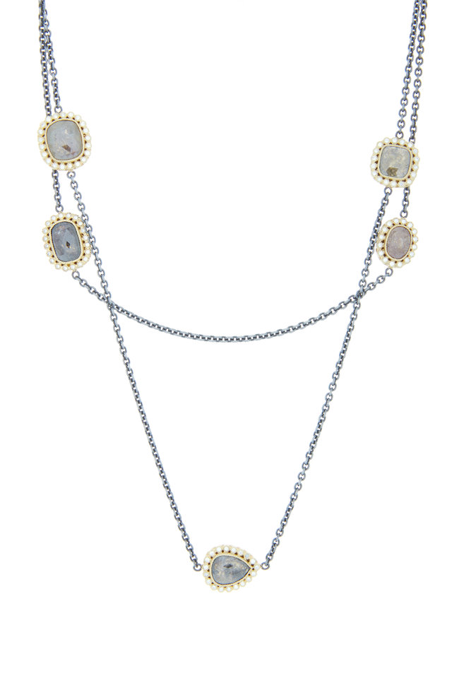 Gold & Silver Fancy Diamond Station Necklace