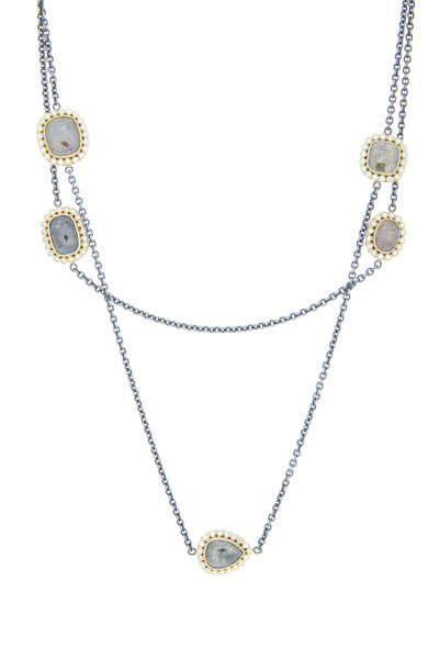 Todd Reed - Gold & Silver Fancy Diamond Station Necklace