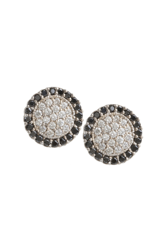 Scallop Pave Center Black Diamond Earrings