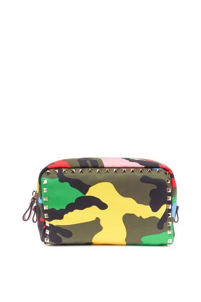 Valentino Garavani - Multicolor Nylon Camo Print Cosmetic Case
