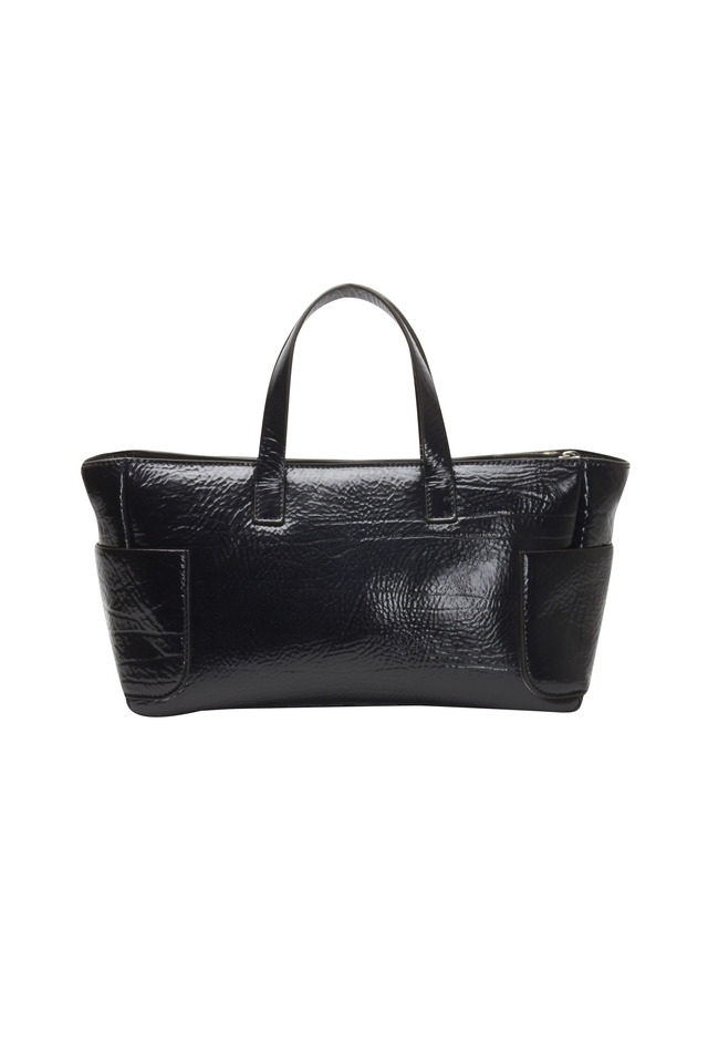 Midnight Blue Leather East West Tote