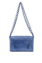 Nancy Gonzalez - Denim Crocodile Double Chain Strap Shoulder Bag