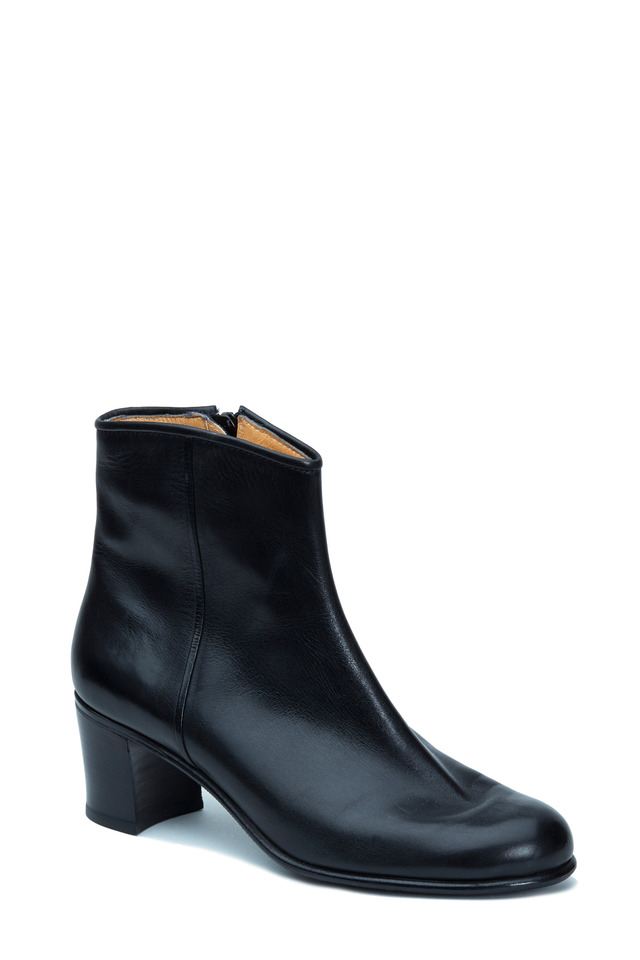 Black Leather Ankle Boot, 50mm